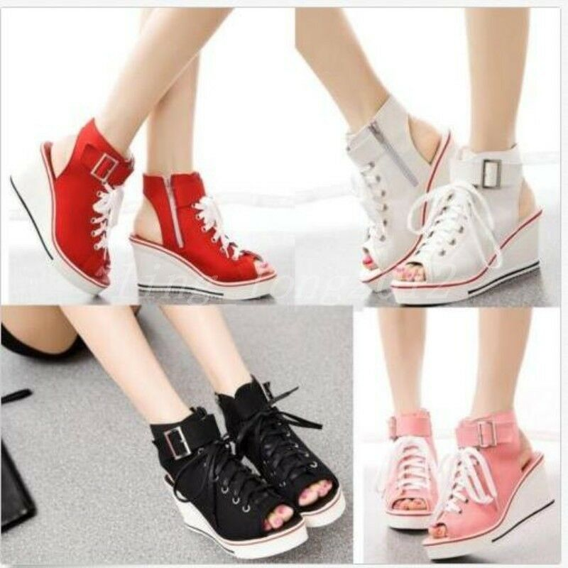 Womens Open Toe Platform Canvas Sandals Wedge Heels High Top Sneakers shoes