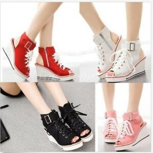 New-Womens-Open-Toe-Platform-Canvas-Sandals-Wedge-Heels-High-Top-Sneakers-Shoes