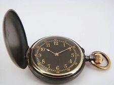 Savonette Damentaschenuhr in Eisen geschwärzt! Mit Goldintarsien!