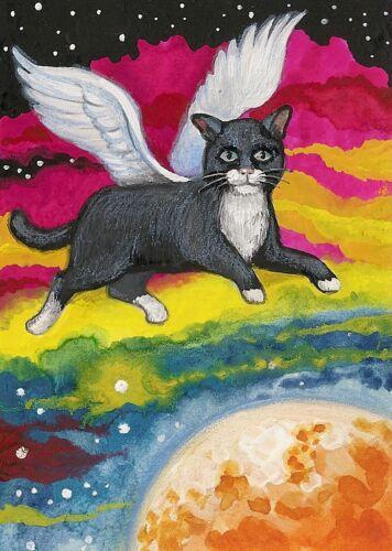 ART TUXEDO CAT ANGEL AURORA BOREALIS PRINT OF PAINTING ACEO RYTA STARS RAINBOW