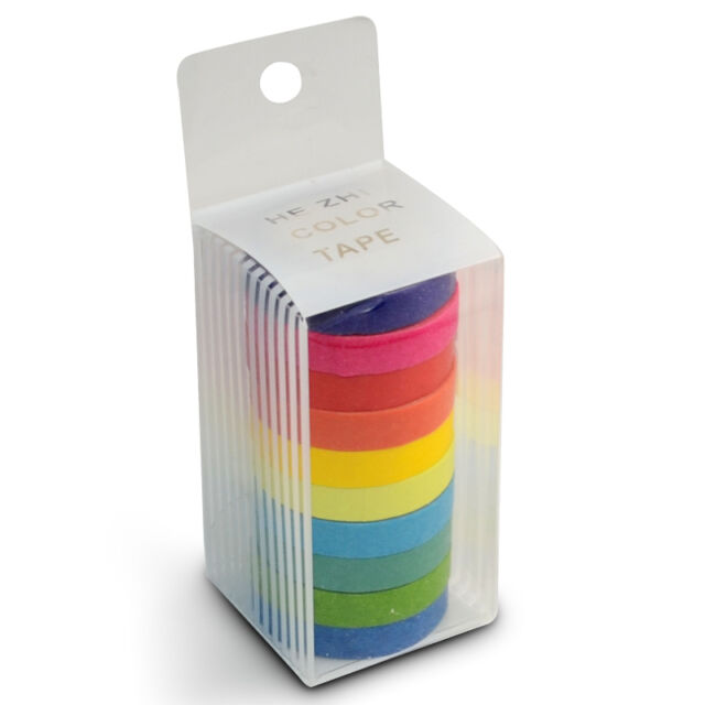 Rainbow Color Decorative Self Adhesive Washi Tape Sticky Paper Sticker Set DIY