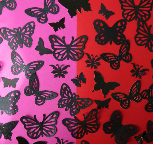 100 decorative butterflies BLACK  for cardmaking, wedding confetti, display