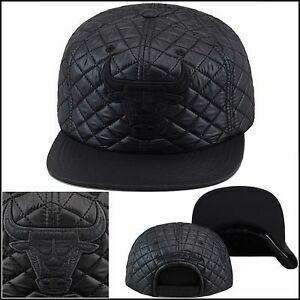 free shipping 67ced a81fa ... get mitchell ness chicago bulls snapback hat cap all black quilted  89176 92008