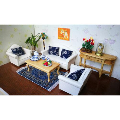 European Style 2pcs Floral Cushions Pillow for 1//12 Dollhouse Sofa Bed Blue