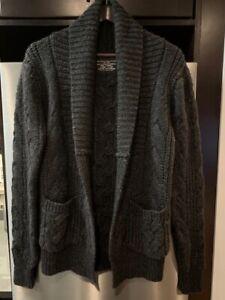 c87e6c61748 Details about ALLSAINTS Men's/Unisex Charcoal Cable Knit Oversized Cardigan  - Size XS