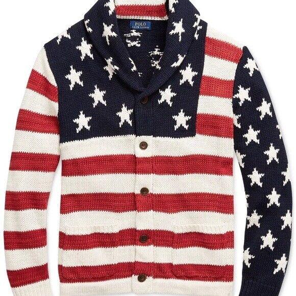 POLO RALPH LAUREN Americana Flag Button Up Cardigan Sweater NEW MSRP  XL