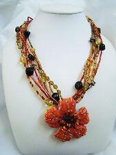 "Chico's Orange Enamel Metal Flower Pendant Necklace Beaded Chains 17-21"" Long"