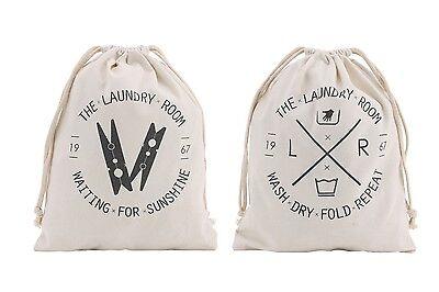 Drawstring Clothes Peg Bag Travel Laundry Bags Tidy Organiser Stuff Cotton Gifts