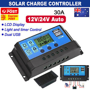 AU PWM 30A 12/24V Solar Panel Regulator Charge Controller Auto LCD Dual USB