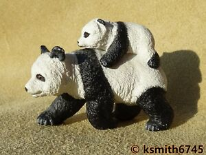 2007 Papo Panda & Cub Solide Jouet En Plastique Wild Zoo Asiatique Animal Figure ????