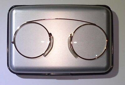 Modern Pince Nez Reading glasses /Spectacles Gold colour with Alu case / wallet