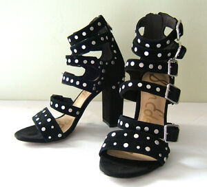 842e31853f98 NEW! Sam Edelman Black Studded Suede Leather YORK Heels Sandals 6 M ...