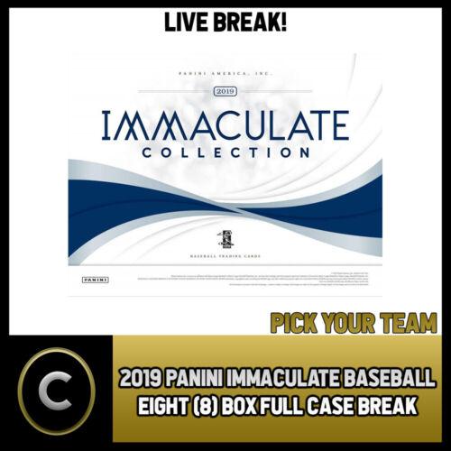 PICK YOUR TEAM FULL CASE BREAK #A374 2019 PANINI IMMACULATE BASEBALL 8 BOX