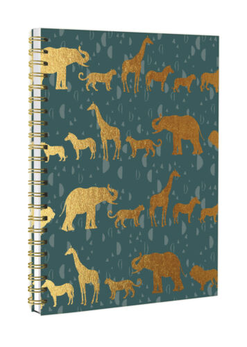 Totally Fierce Green /& Gold Animal A5 Spiral Bound Twin Wire Hard Cover Notebook