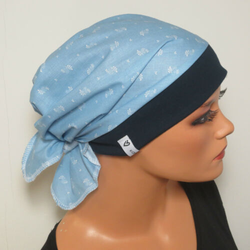 Femmes Foulard//Bonnet Foncé//Bleu clair coton idéal comme chemomütze Alopécie