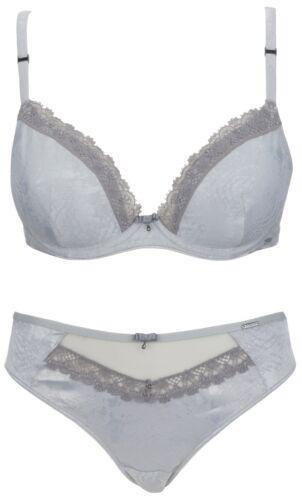 Ex Store Satin Plunge Bra /& Brazilian Knickers Set Silver Grey