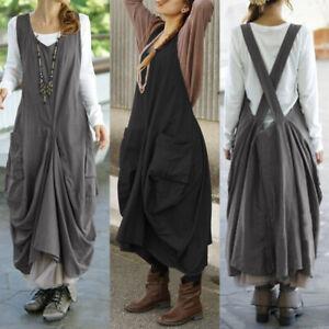Damen-Mode-U-Hals-Lose-Armellos-Laessiges-Baumwolle-Leinen-Sommer-Kleid-Oversize