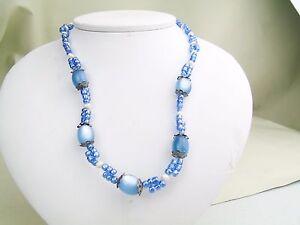 VINTAGE-RETRO-BLUE-MOTHER-PEARL-BEAD-NECKLACE-PENDANT-GEM-LADIES-NECKLACE