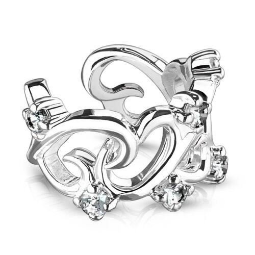 piercing Ohrklemme Filigraner Glieder Herzen mit Cz Akzent Ring