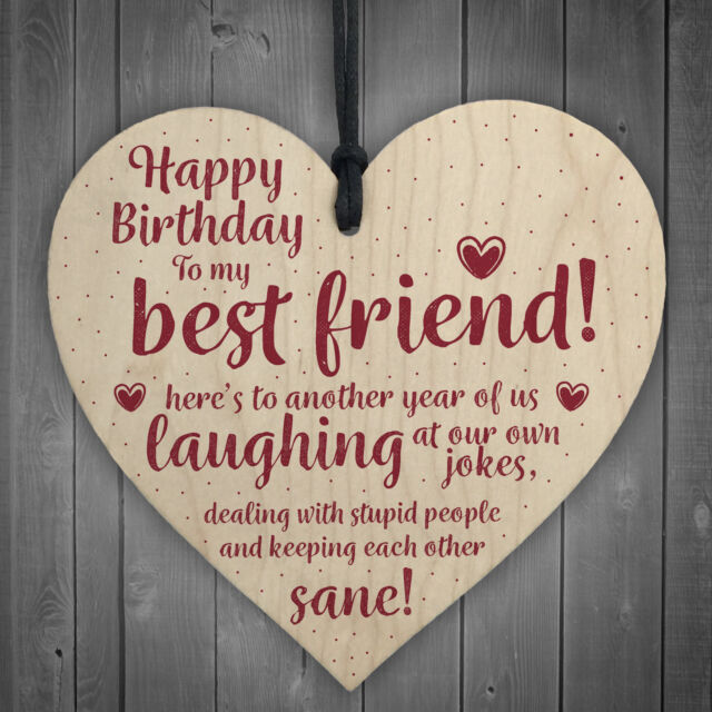 Happy Birthday Best Friend Wooden Friendship Sign Thank You Plaque Keepsake Gift
