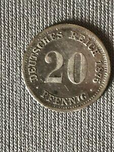 Germania-20-Pfenning-Argento-1875-D-Spl-Re-Wilhelm-I-Impero-Tedesco