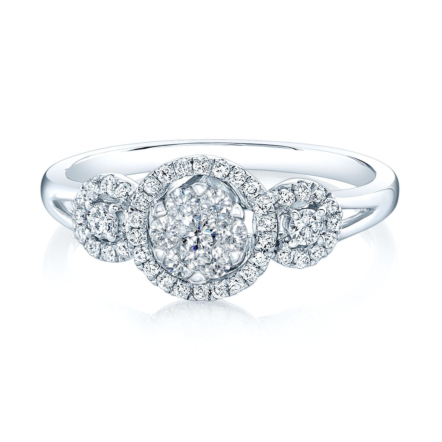 0.42CT 14K White gold 3 Three Stone Diamond Engagement Ring, 3 Stone Engagement