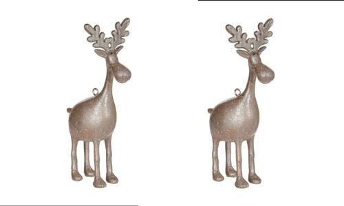 "RAZ Imports 4.75/"" Moose Ornament Set//2 Resin Christmas NEW Super Cute Rustic"