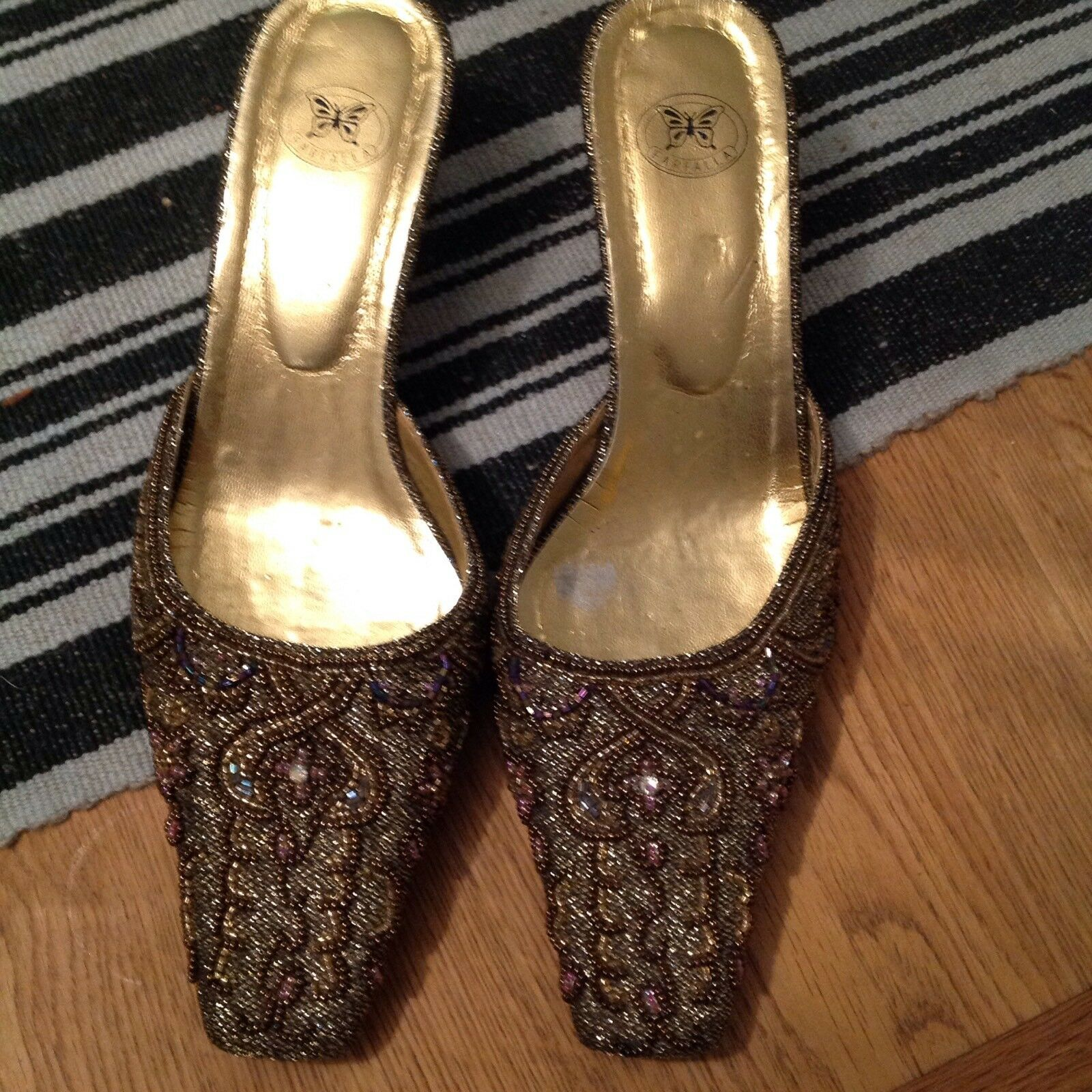 'Farfalla' absolutely stunning beaded slip ons size 6.5  39 Party shoes