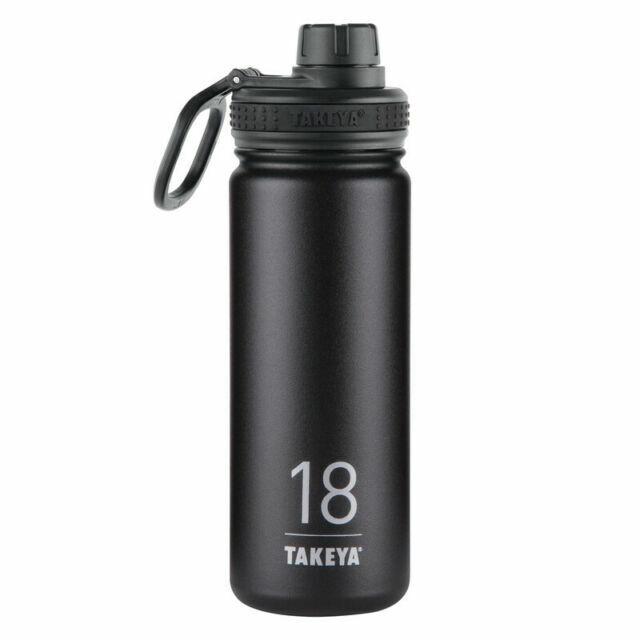 18 oz, Takeya 50001 Originals Vacuum-Insulated Stainless-Steel Water Bottle Black 18oz