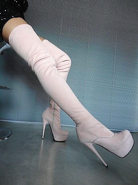 Mori Platform Over the Knee Heels  Stiefel Boots Stretch Leather Pink Pink 39