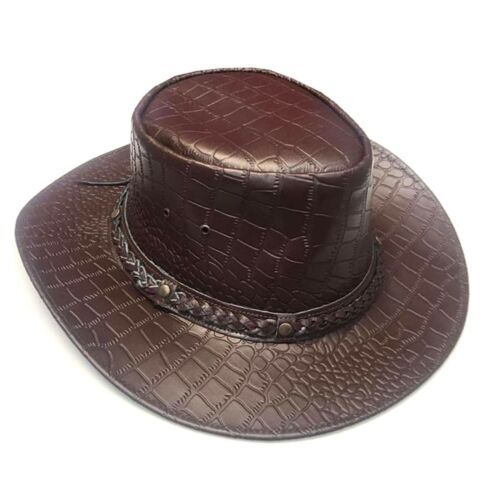Men/'s Textured Vintage Aussie Style Real Leather Cowboy Bush Hat Brown