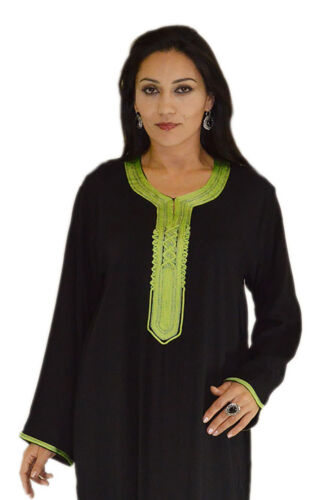 Moroccan Caftans Women Handmade Kaftan Cotton Dress Medium to Large Black