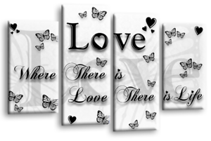 LOVE QUOTE Canvas Wall Art Picture Grey White Red Black Split 4 Panel 112cm