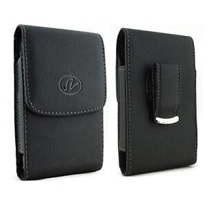 Black-Vertical-Leather-Cellphone-Case-w-Belt-Clip-Pouch-20-DIFFERENT-SIZES