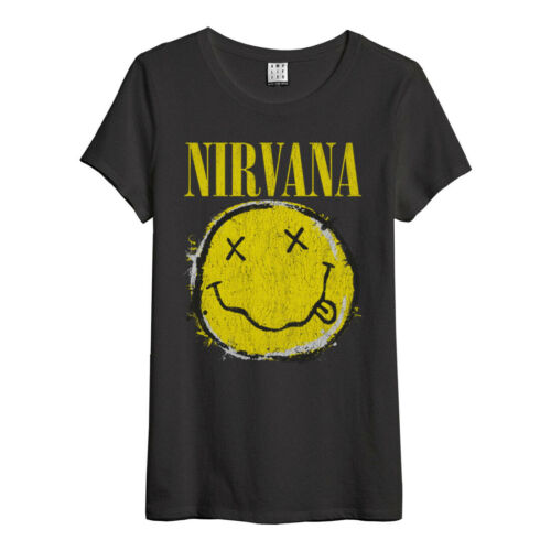Amplified-Nirvana worn out SMILE ROCK BAND LOGO DONNA T-shirt (GRIGIO) (S-XL)