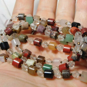Vintage-Natural-Stone-Crystal-Bead-Sterling-Silver-36-034-Long-Necklace-10h-84