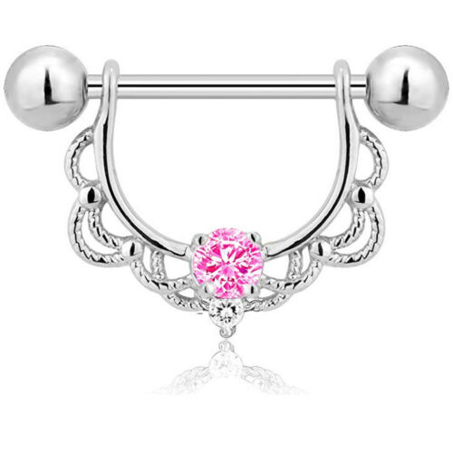 14g Surgical Steel Crystal Opal Nipple Shield Ring Bar Barbell Piercing Jewelry