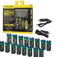 16 Li-ion  RCR123A/16340 rechargeable batteries & NITECORE D4 charger for Arlo