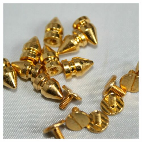 100pcs 5mm x 8mm Brass Spike Cone Screw Back Studs Rivet for DIY Leather Jacket