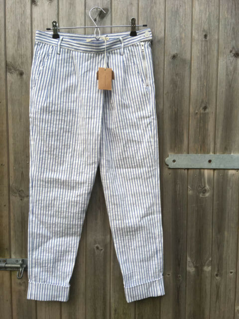 Cabbages and pinks bluee striped summer trousers