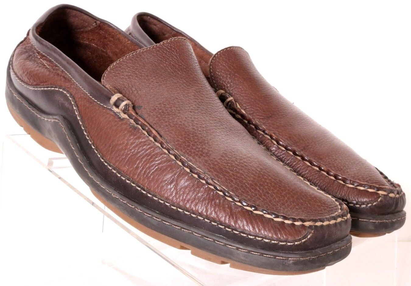 Bass Balmgold Two-Toned Brown Pebbled Leather Moc Driving Loafer Men's US 12M