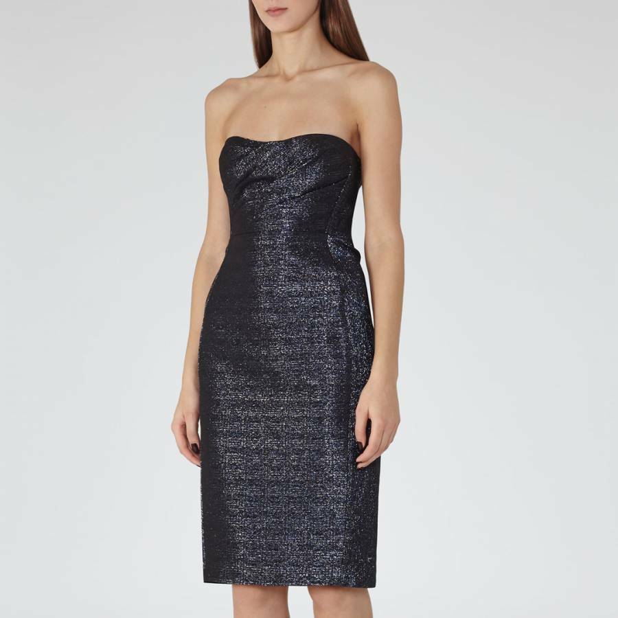 REISS Midnight Marilyn bussglidasr Metallic strepless corset Dress US2  UK6 NWT  425