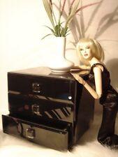 "NIB $89.00 BLACK BEVELED GLASS DRESSER Luxury Decor Diorama 16"" Sybarite Tonner"