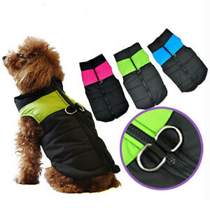 New-Small-Medium-Dog-Clothes-Winter-Warm-Puffer-Puffa-Vest-Coat-Harness-Jacket