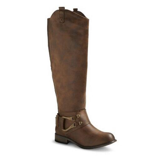 Mossimo Women's Kamari Tall Harness Buckle Boots - Cognac Brown, Size 6