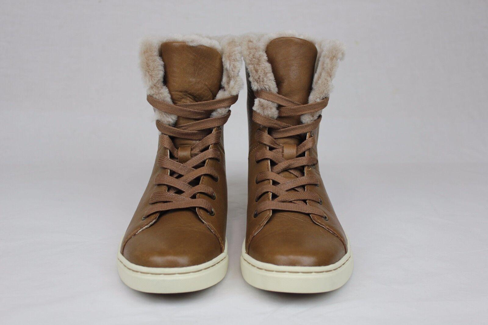 40067c56b93 UGG Australia Croft Luxe Quilt Chestnut Leather Sheepskin Sneaker Size 6.5  US