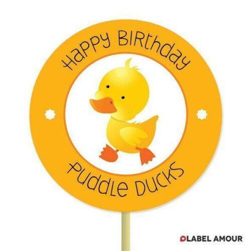 20 PERSONALISED Cup Cake Toppers Birthday Party Favour DuckCupcake Decoration