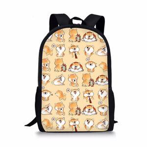Backpacks Shiba Inu Dog Kids Bookbag Tablet Computer Travel School Girls Boys