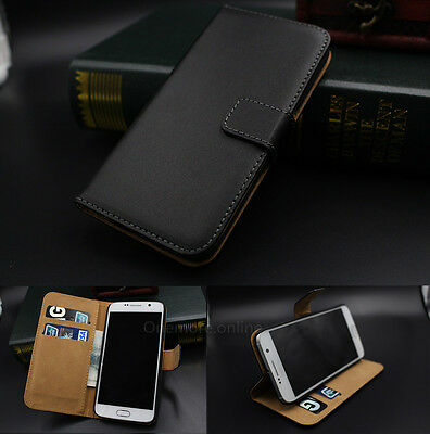 Genuine Real Leather Flip Wallet Card Holder Case Cover For Samsung Galaxy Model