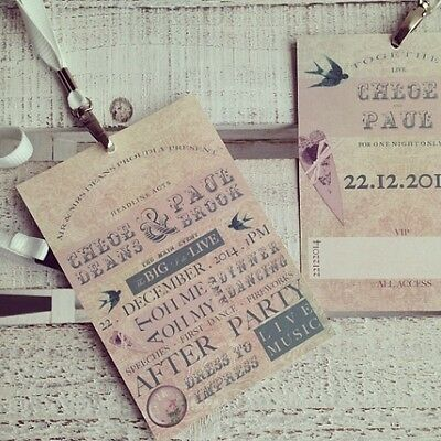 Personalised Wedding Invitations Festival Lanyard  Boho Invites Vintage Ticket